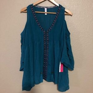 NWT Teal shoulder cutout blouse
